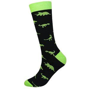 Mens Novelty Dinosaur Cotton Crew Socks Black